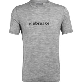 Icebreaker Tech Lite Wordmark Top Manga Corta Hombre, metro heather
